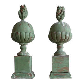 Italian Painted Flamed Finials - Pair