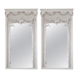 Vintage French Style Painted Trumeau Mirrors With Rose Swags - a Pair