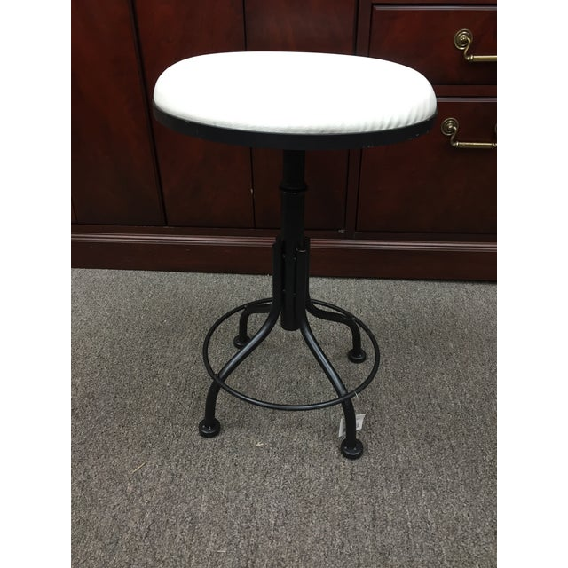Round Leather Stool with Metal Legs - Image 3 of 7