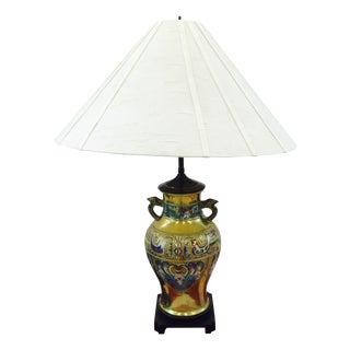 Vintage Brass Cloisonné Lamp