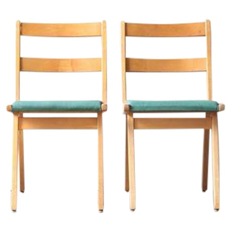 Maple & Turquoise Vinyl Side Chair - Image 2 of 7