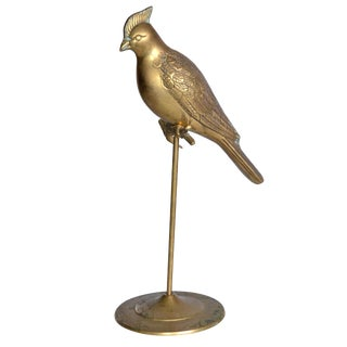 Gorgeous Vintage Brass Cockatoo on Stand