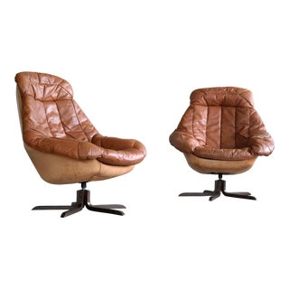 H. W. Klein Pair of Cognac Colored Silhouette Leather Armchairs for Bramin