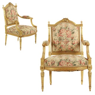 French Louis XVI Style Giltwood Fauteuils, Circa 1900- A Pair