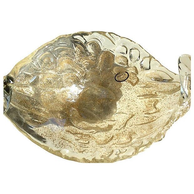 Lavorazione Arte Murano Gold Fleck Leaf Glass Bowl - Image 3 of 6