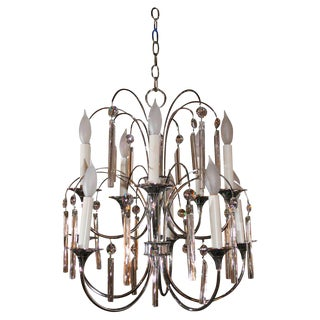 Mid Century Chrome and Crystal Chandelier
