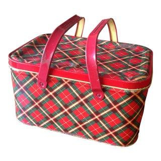 Vintage Plaid Tin Picnic Box