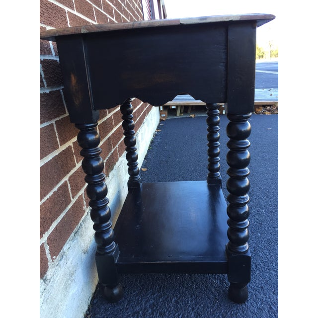 Image of Black & Natural Wood Nightstand