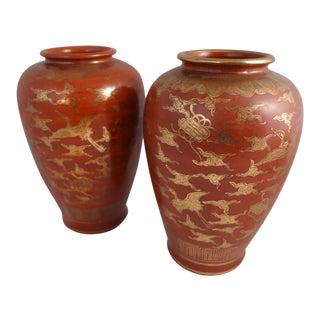 Japanese Kutani Eiraku Red Gold Kinrande Porcelain Vases - aPair