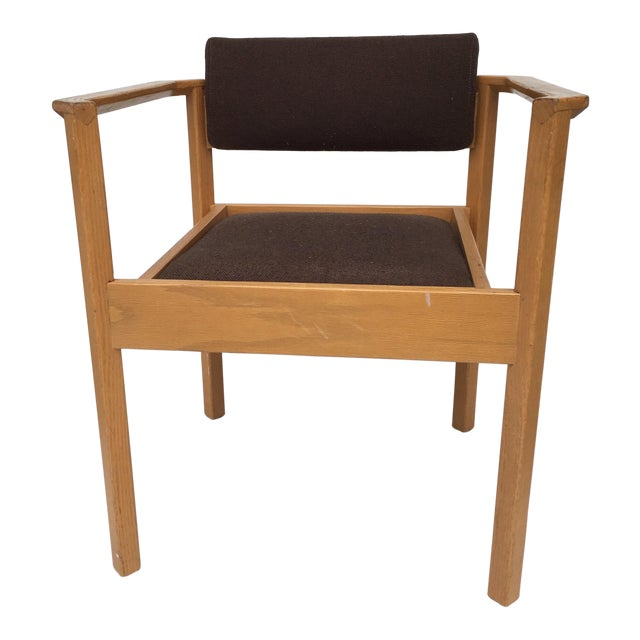 Mid-Century Wood And Fabric Accent Chair