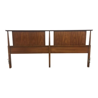 Dixie Mid-Century King Size Walnut Headboard