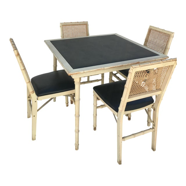 Stakmore Faux Bamboo Foldable Vintage Game Table Amp Chairs