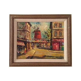 1950s Moulin Rouge Oil Painting
