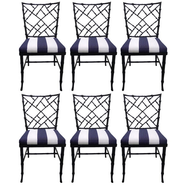 Kessler Black Bamboo-Style Dining Chairs - Set of 6 - Image 1 of 7