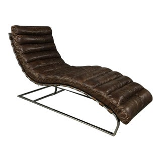 Restoration Hardware Oviedo Brown Leather Chaise