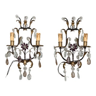 Italian Two-Light Tole and Crystal Sconces - a Pair