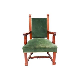 Antique Green Velvet Empire Chair