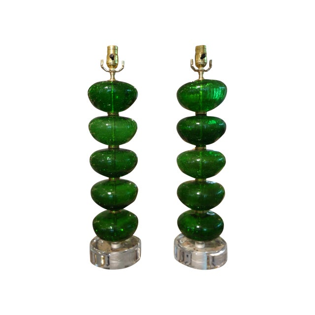 Image of Murano Mid-Century Glass Table Lamps - A Pair