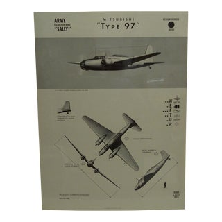 "Vintage WWii Aircraft Recognition Poster ""Mitsubishi - Type 97"", Japan, 1943"