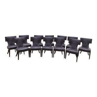 Purple Leather Custom Dining Chairs - Set of 12