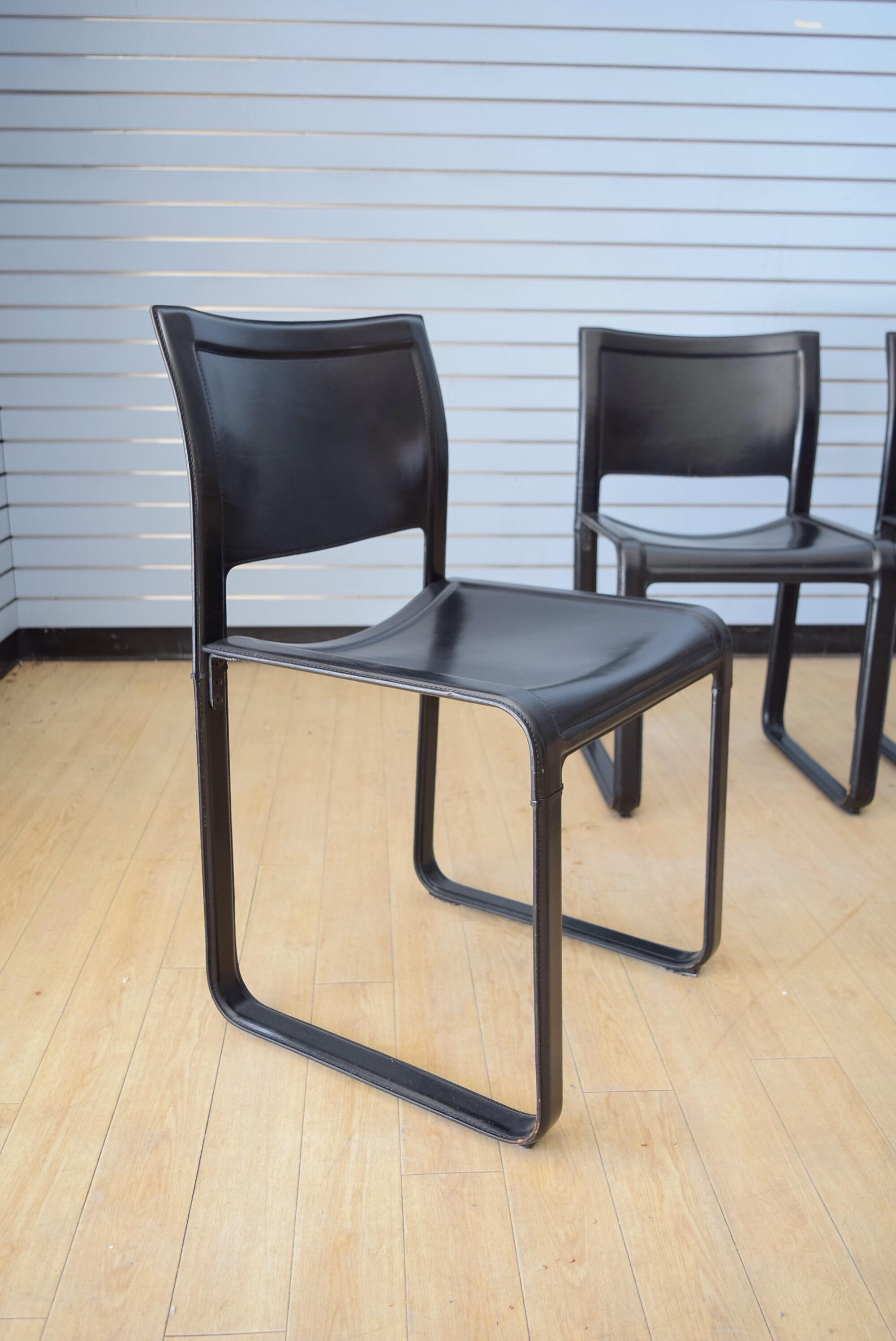matteo grassi sistina strap black leather dining chairs set of 5 image 6 of