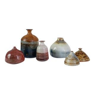 Franco Agnese Set of Six Ceramic Vases in Multi-Color, France, 1960s