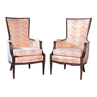 Decorator Flame Stitch Armchairs - A Pair