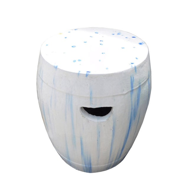 Chinese White & Blue Ceramic Garden Stool - Image 3 of 6