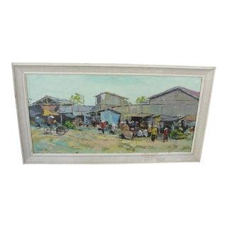 Vintage Vietnamese Oil on Canvas Painting