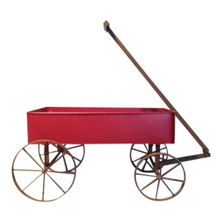 Red Wagon With Iron Wheels