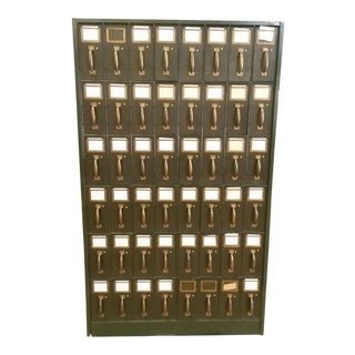 Antique Art Dark Green Metal Vertical 48 Drawer Filing Cabinet