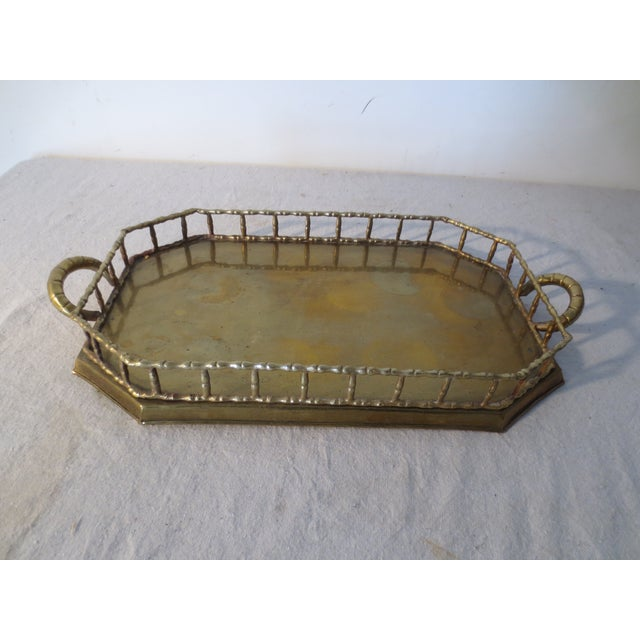 Image of 60s Brass Serving Tray With Gallery