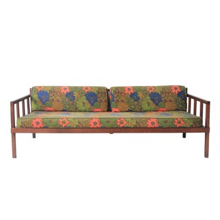 Vintage Mid-Century Modern Floral Rosewood Daybed Sofa