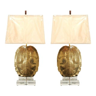 Outstanding Pair of Custom Faux-Tortoise Shell Ceramic Lamps with Lucite Accents