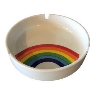 Vintage 80's Rainbow Porcelain Ashtray