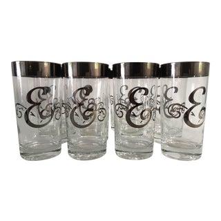 "Mid-Century Silver Monogram ""E"" Glasses - Set of 12"
