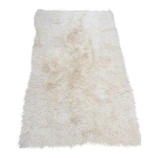 """Vintage Wool Flokati Rug - 4' x 6'3"""""""