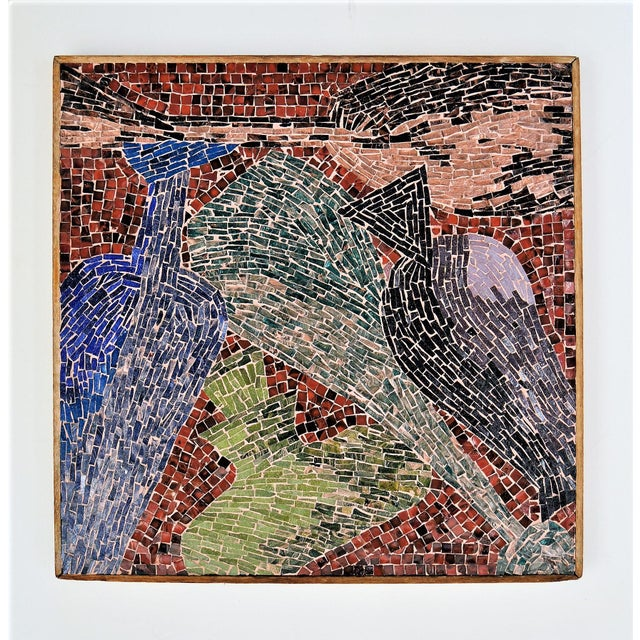 Cubist Glass Mosaic Wall Sculpture - Image 11 of 11