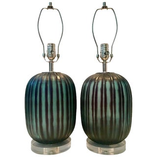 Contemporary Fluted Blown Glass Black and Green Lamps - a Pair
