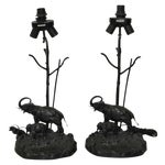 Image of Italian Elephant & Calf Table Lamps - A Pair