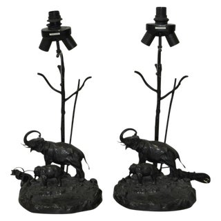Italian Elephant & Calf Table Lamps - A Pair