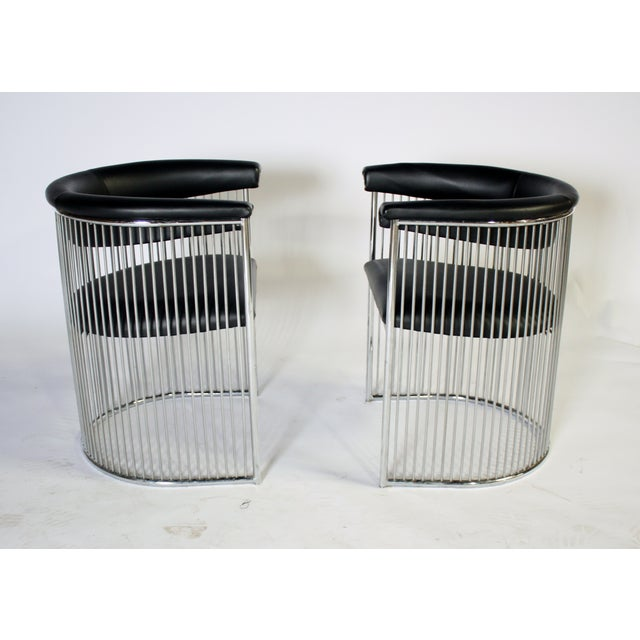 Image of Platner Style Chrome & Black Vinyl Chairs - A Pair