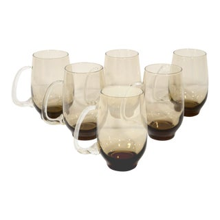 Set of Six Mid-Century Modern Smoked Glass Mugs