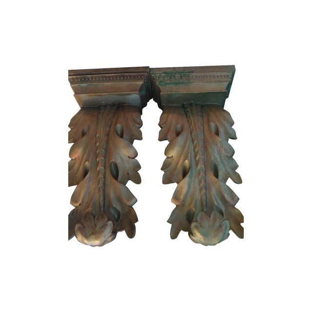 Antique Gold Ancuthus Wall Display Shelves a Pair - Image 1 of 8