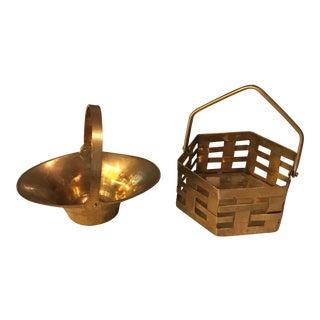 Miniature Brass Baskets - A Pair