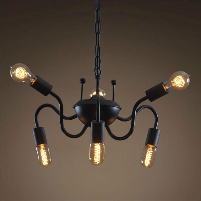 Vintage Black Iron Spider Chain Pendant Light - Image 2 of 2