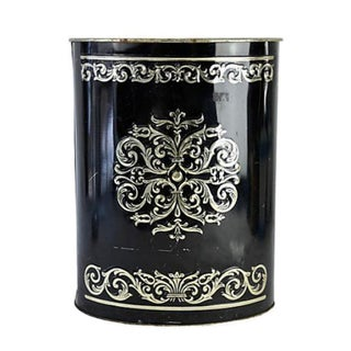 Black Filigree Embossed Tin Wastebasket