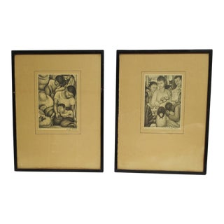 Diego Rivera Framed Early Edition Prints - A Pair