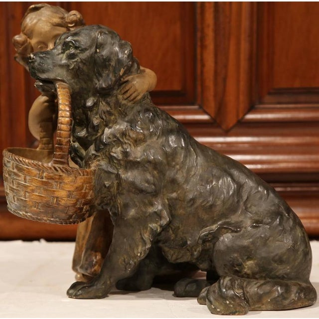 19th Century French Girl & Dog Terracotta Sculpture - Image 4 of 9
