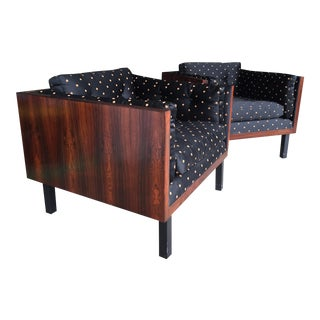Rosewood Cubic Club Chairs by Jydsk Denmark- a Pair